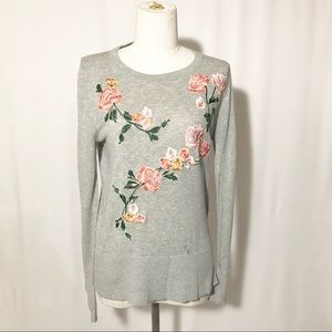 Loft S grey floral embroidery long sleeve sweater